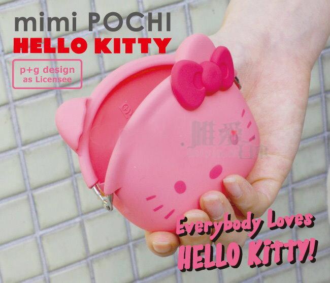 【真愛日本】13072000033 矽膠零錢包-KT頭形粉桃結  三麗鷗 Hello Kitty 凱蒂貓 珠扣零錢包 矽膠包