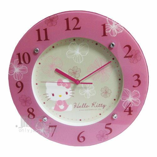【唯愛日本】13032800025 玻璃壁鐘-繽紛花語 三麗鷗 Hello Kitty 凱蒂貓 掛鐘 時鐘 正品