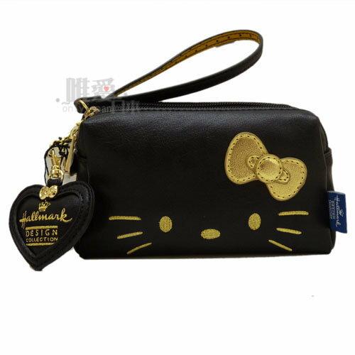 【唯愛日本】13121000008 聯名三層收納包-淘氣凱蒂黑 Kitty&Hallmark 聯名款 手挽包 化妝包