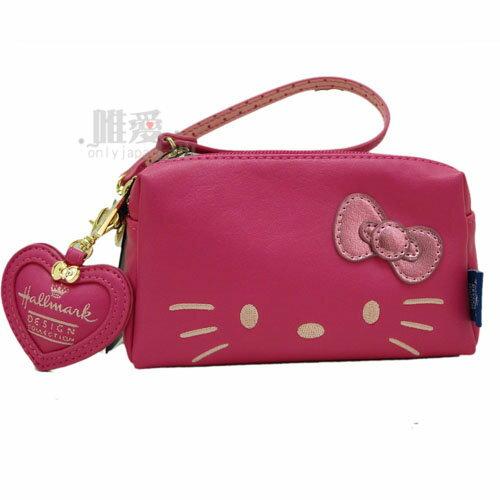【唯愛日本】13121000009 聯名三層收納包-淘氣凱蒂粉 Kitty&Hallmark 聯名款 手挽包 化妝包