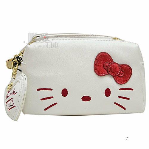 【唯愛日本】13121000010 聯名三層收納包-淘氣凱蒂白 Kitty&Hallmark 聯名款 手挽包 化妝包
