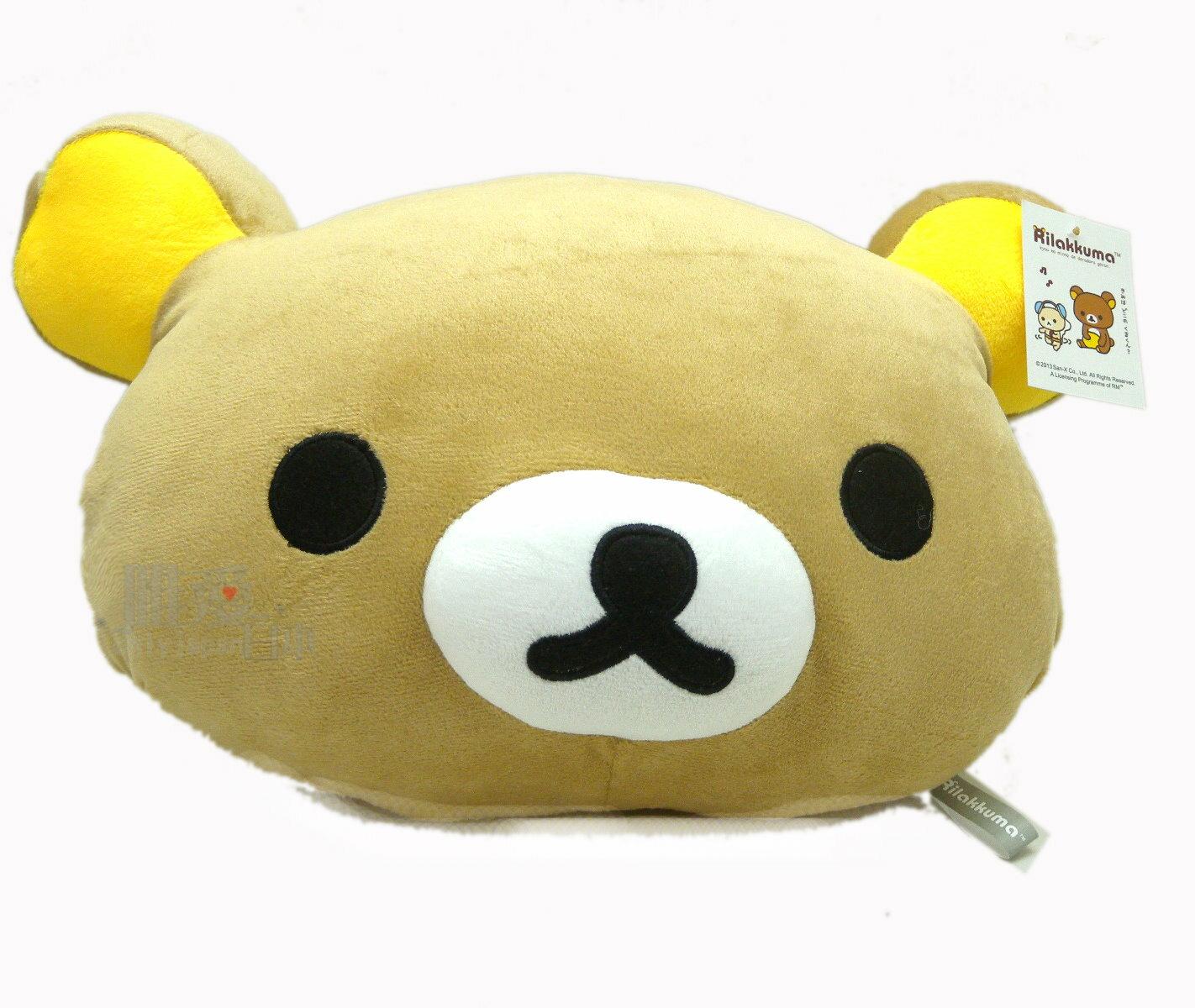 【唯愛日本】14010100018 懶熊頭型暖手抱枕50cm SAN-X 懶熊 奶妹 奶熊 暖手枕 抱枕 靠枕