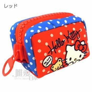 <br/><br/>  【唯愛日本】14011800015 巨齒拉鍊化妝包M-點點紅藍 三麗鷗 Hello Kitty 凱蒂貓 收納包 正品<br/><br/>