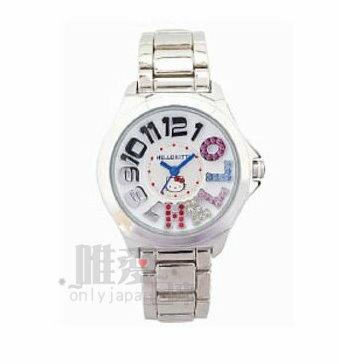 【唯愛日本】14012400046 不鏽鋼鍊錶-數字彩石銀 三麗鷗 Hello Kitty 凱蒂貓 造型錶 潮流錶
