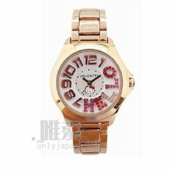 【唯愛日本】14012400047 不鏽鋼鍊錶-數字彩石玫瑰金 三麗鷗 Hello Kitty 凱蒂貓 造型錶 潮流錶