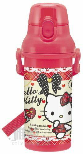 【唯愛日本】14012400052 直飲水壺-蘇格蘭格子紅 三麗鷗 Hello Kitty 凱蒂貓 冷水壺 運動水壺