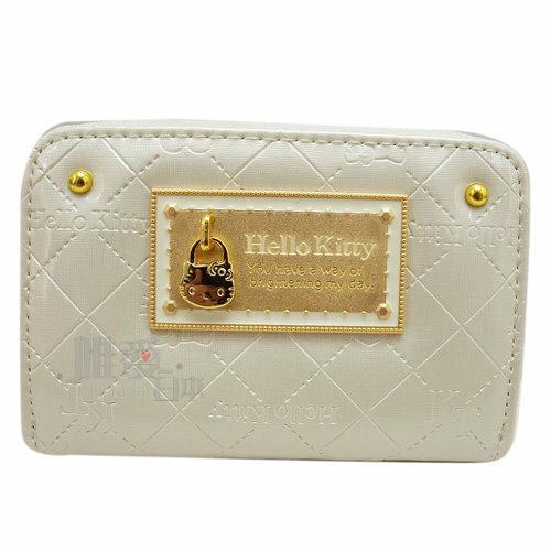 【唯愛日本】14012500019 拉鍊零錢包-KT鎖頭菱格紋白 三麗鷗 Hello Kitty 凱蒂貓 皮包 卡票包