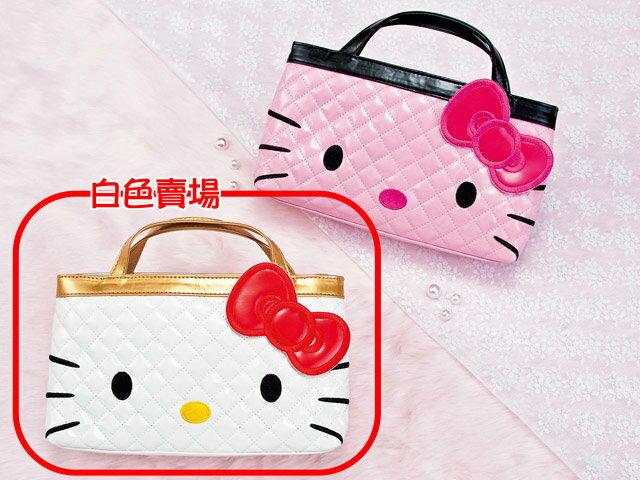 【唯愛日本】14021300025 格紋大臉袋中袋-白 三麗鷗 Kitty 凱蒂貓 購物袋 手提袋 日本景品