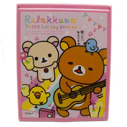 【唯愛日本】14030700078 超大方鏡-彈吉他B SAN-X 懶熊 奶妹 奶熊 化妝鏡 隨身鏡