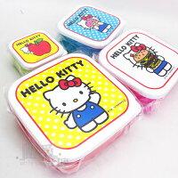 野餐盒不可缺單品【唯愛日本】14032700019 4合1保鮮盒-蘋果 三麗鷗 Hello Kitty 凱蒂貓 野餐盒 水果盒