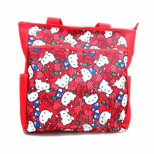 【唯愛日本】14050800018 肩背包-蘋果滿版紅 三麗鷗 Hello Kitty 凱蒂貓 購物包 學藝袋 正品