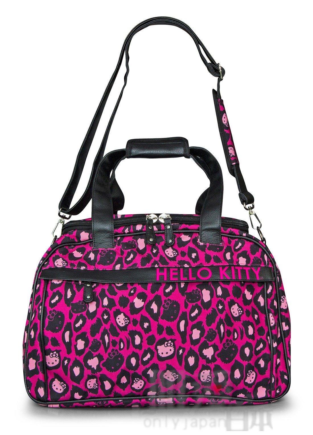 【唯愛日本】 14052000020 LF聯名旅行袋-豹紋桃黑 Kitty 凱蒂貓 loungefly聯名 行李包 登機包 正品
