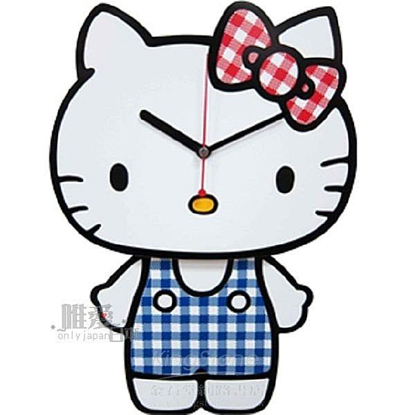 【唯愛日本】14062800010 站姿造型搖擺壁鐘-格紋藍 三麗鷗 Hello Kitty 凱蒂貓 時鐘 掛鐘