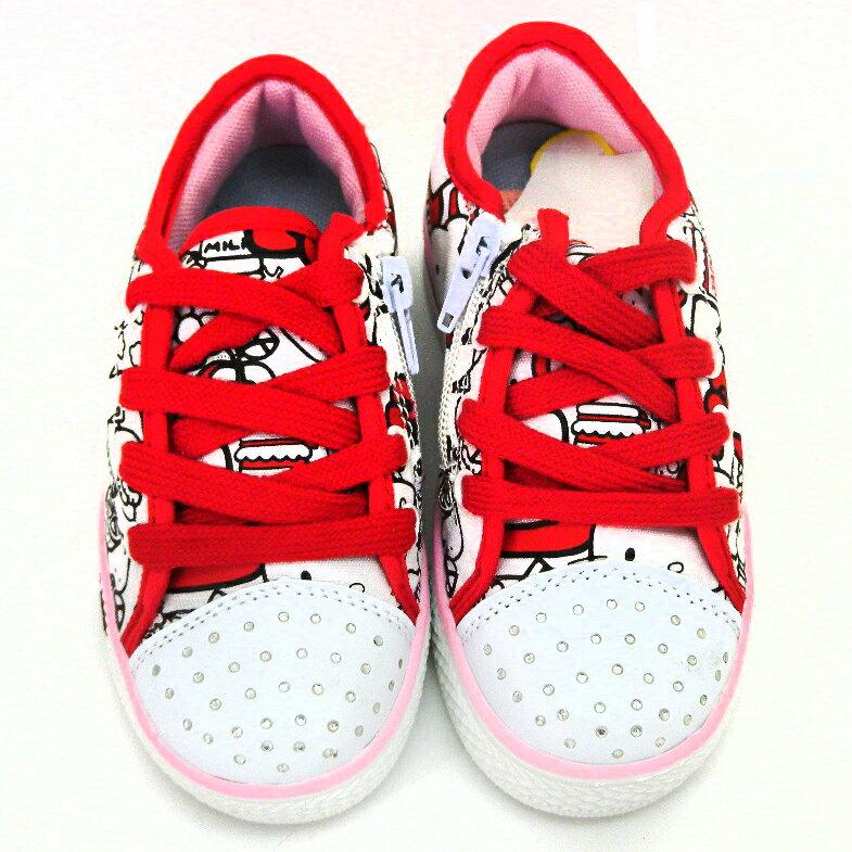 【唯愛日本】童鞋714879-白紅26-35 三麗鷗 Hello Kitty 凱蒂貓 休閒鞋 外出鞋 板鞋 運動鞋