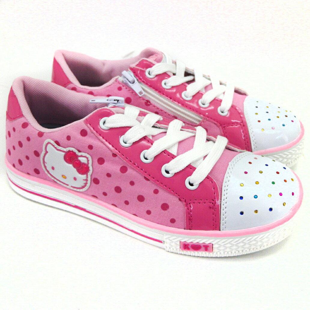 【唯愛日本】童鞋714881粉-27-35 三麗鷗 Hello Kitty 凱蒂貓 休閒鞋 帆布鞋 學生鞋 板鞋