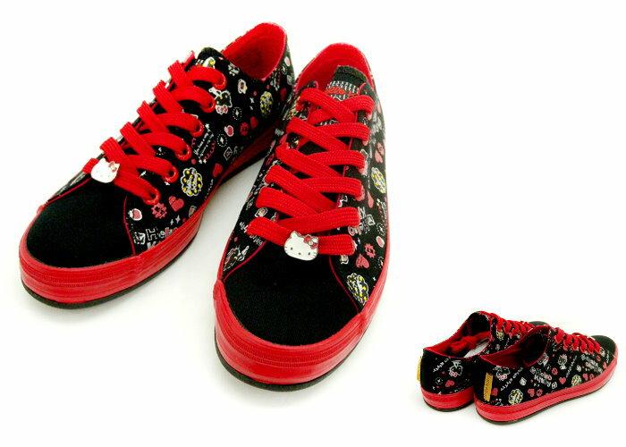 【唯愛日本】帆布鞋914106黑23-25 三麗鷗 Hello Kitty 凱蒂貓 休閒鞋