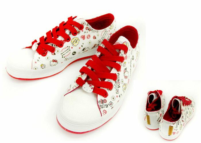 【唯愛日本】帆布鞋914106白23-25 三麗鷗 Hello Kitty 凱蒂貓 休閒鞋
