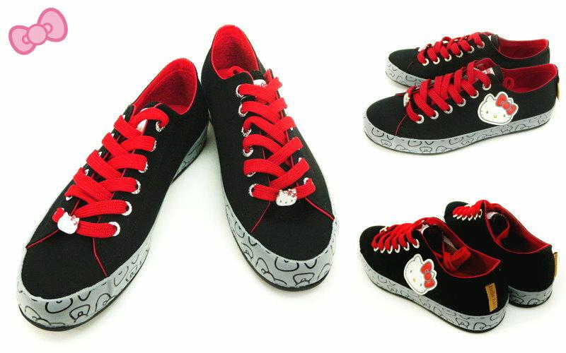 【唯愛日本】休閒鞋914114黑-25-25 三麗鷗 Hello Kitty 凱蒂貓 帆布鞋