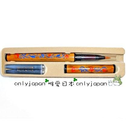 <宮崎駿會館>9030700002崖上的金魚姬波妞手工刻紋天然竹筆盒裝毛筆墨汁