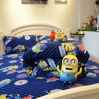 床包兩用毯組 / 雙人-暖呼呼搖粒絨【小小兵-前進英倫】含兩件枕套,發熱保暖,戀家小舖,台灣製