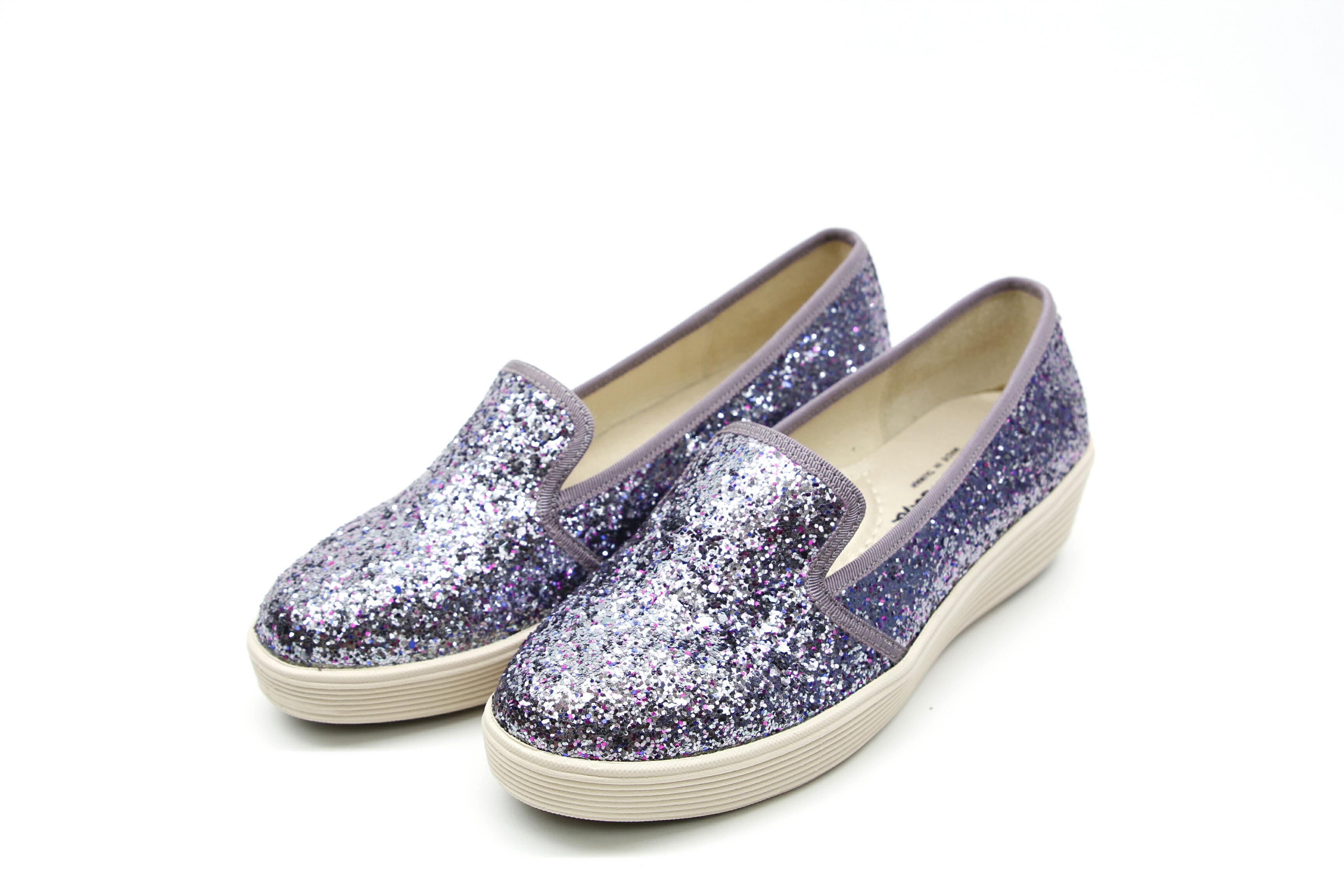 Aimez La Vie 超輕氣墊鞋 低調奢華鑽面真皮內裡腳窩樂福厚底休閒鞋