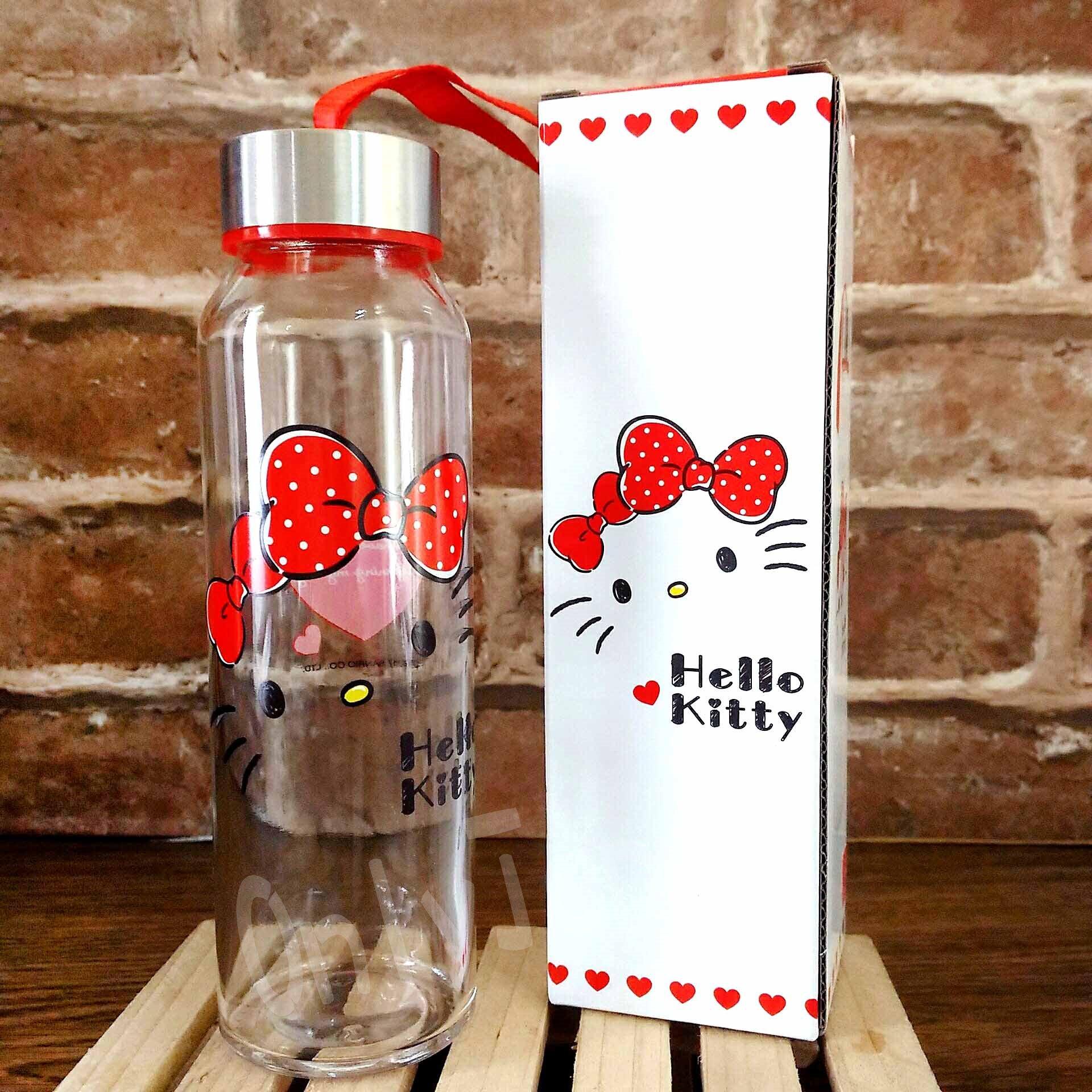 【真愛日本】18041100009 耐熱玻璃水瓶附提繩-KT大臉 三麗鷗kitty 凱蒂貓 透明 玻璃 水瓶 水壺