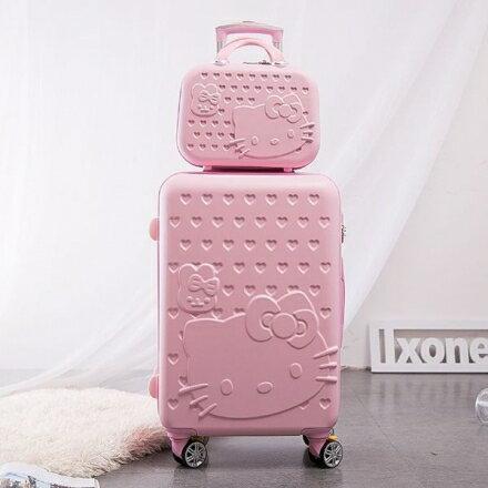 【ChenWorld】買大送小 20寸 KITTY 子母 密碼鎖行李箱+14吋化妝箱 24寸旅行箱