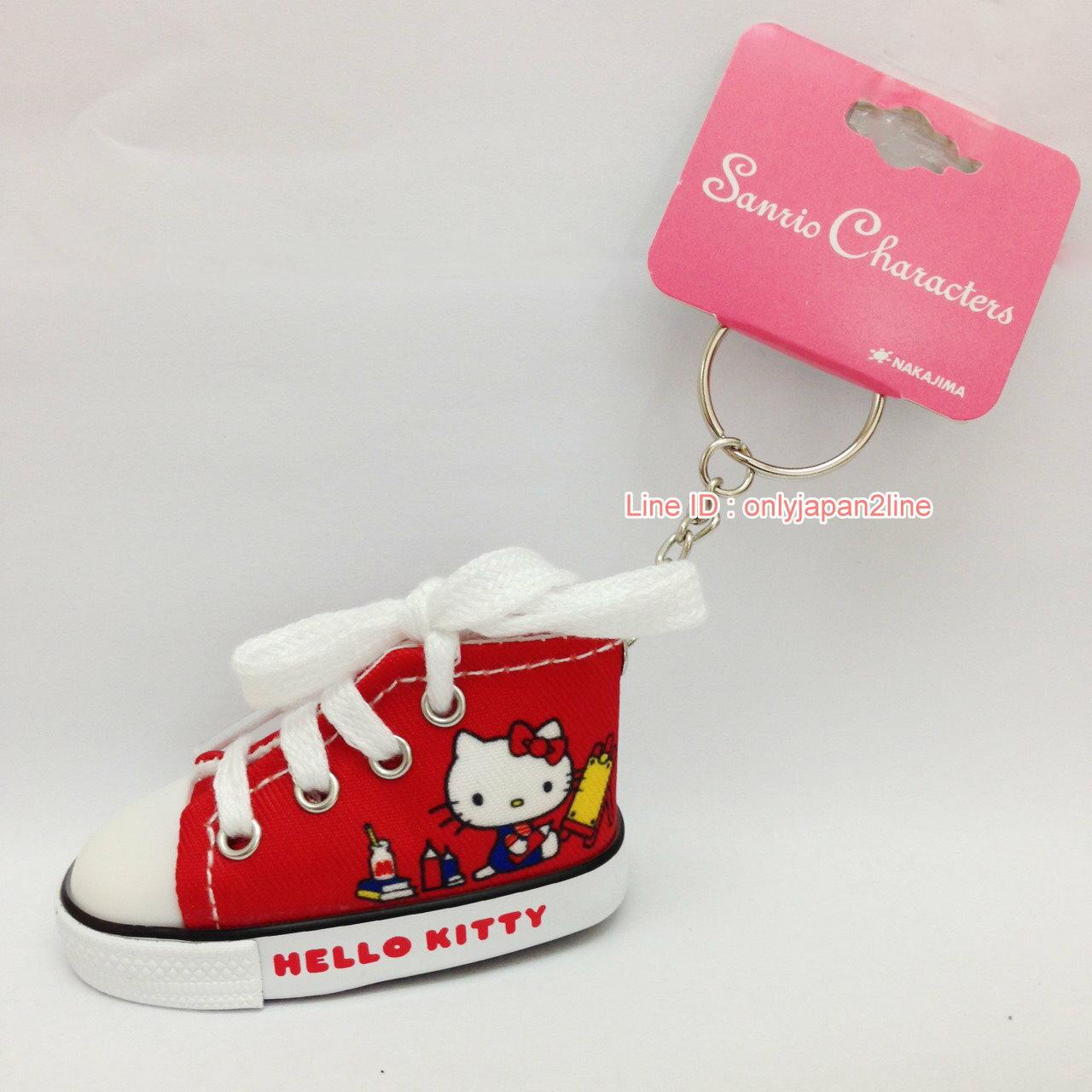 【真愛日本】17022100048迷你帆布鞋鎖圈-KT畫畫紅    三麗鷗 Hello Kitty 凱蒂貓   鑰匙圈 鎖圈 吊飾