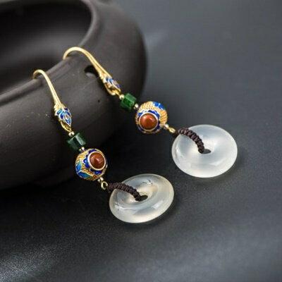純銀鍍14K耳環玉髓耳針~古典風格精美簡約母親節情人節生日 女飾品73hl76~ ~~米蘭