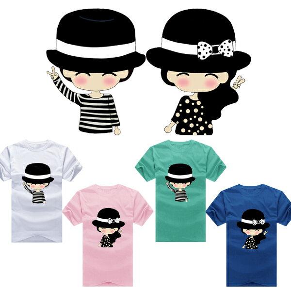 T恤 情侶裝 客製化 MIT 製純棉短T 班服◆ 出貨◆ 配對情侶裝.黑色禮帽情侶【YC139】可單買.艾咪E舖