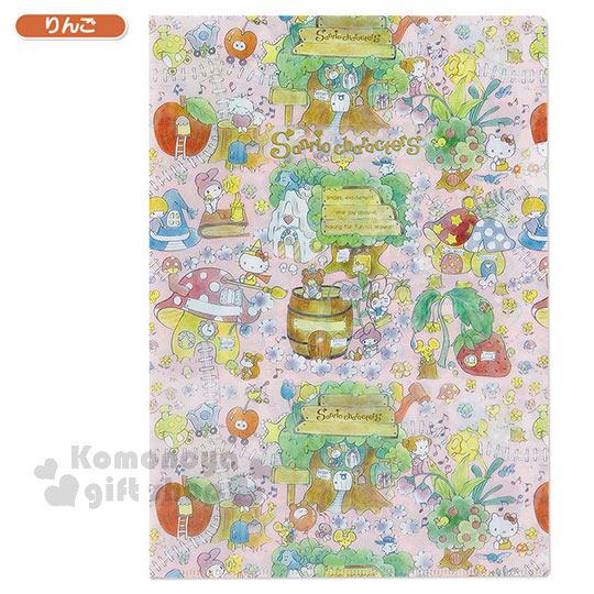 〔小禮堂〕Sanrio大集合 日製L型文件夾《A4.粉.魔法森林》Sanrio55週年紀念系列第二彈