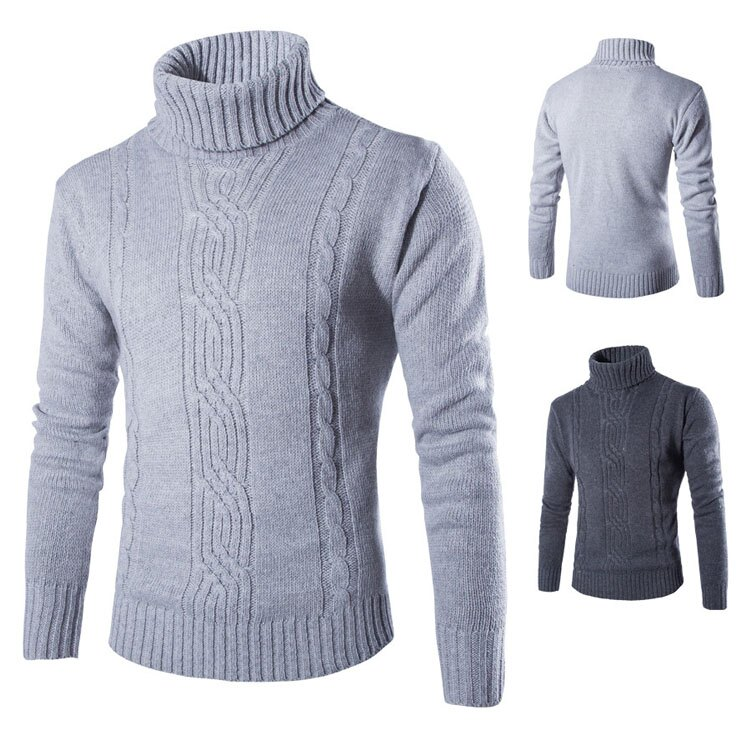 Mao 最新款經典復古素色紋路造型高領套頭毛衣
