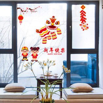 新年飾品居家靜電貼玻璃貼窗貼35飯店商店櫥窗玻璃牆貼(限宅配無法萊爾富超取)