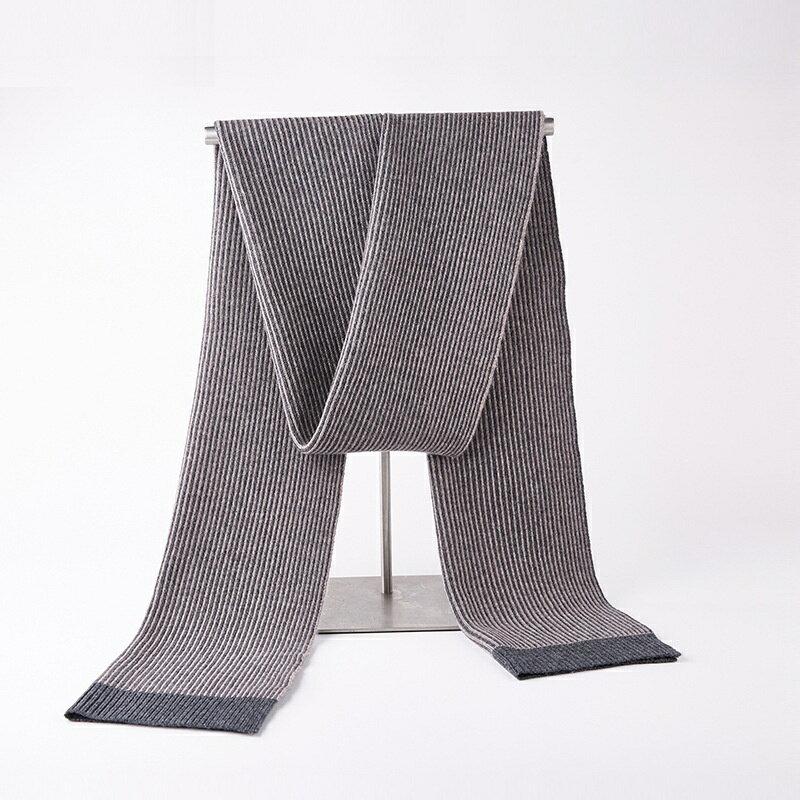 圍巾羊毛披肩-針織拼色細條紋時尚男配件3色73wh44【獨家進口】【米蘭精品】