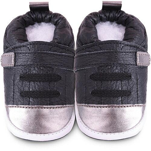 【HELLA 媽咪寶貝】英國 shooshoos 安全無毒真皮手工鞋/學步鞋/嬰兒鞋_銀黑運動型_101073 (公司貨)