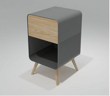 北歐鐵藝床頭櫃小型實木時尚床頭櫃客廳邊桌簡歐儲物櫃