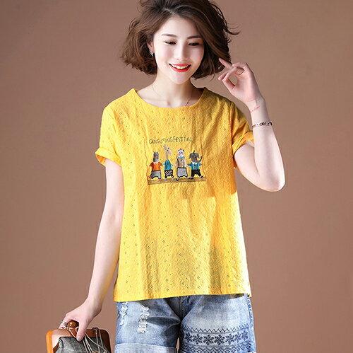 純棉短袖韓版寬鬆刺繡T恤(4色L~5XL)【OREAD】 1