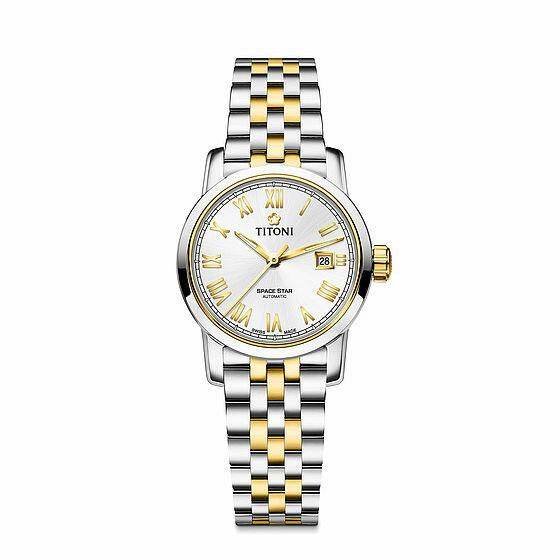 TITONI瑞士梅花錶 天星系列 23538SY-561 經典羅馬腕錶/金 28mm