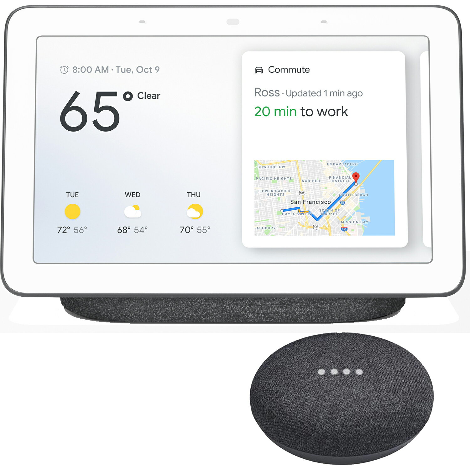 Google Home Hub with Google Assistant + Google Home Mini