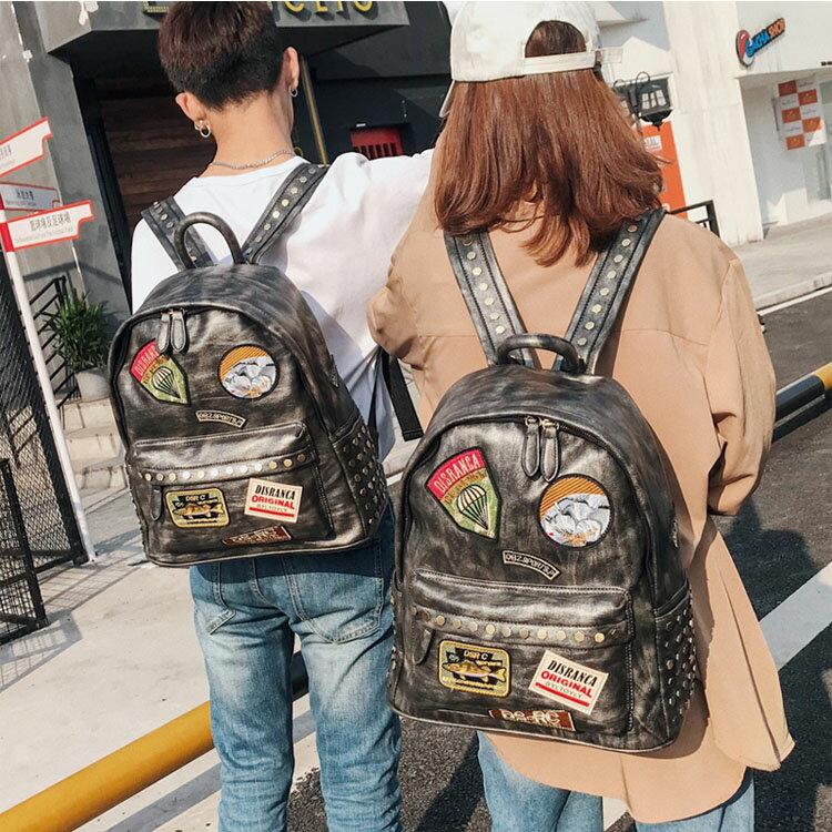 【5折超值價】經典高質感潮流美式街頭圖徽造型百搭後背包