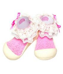 【本月特價$599】韓國【Attipas】快樂腳襪型學步鞋-淑女粉紅 - 限時優惠好康折扣