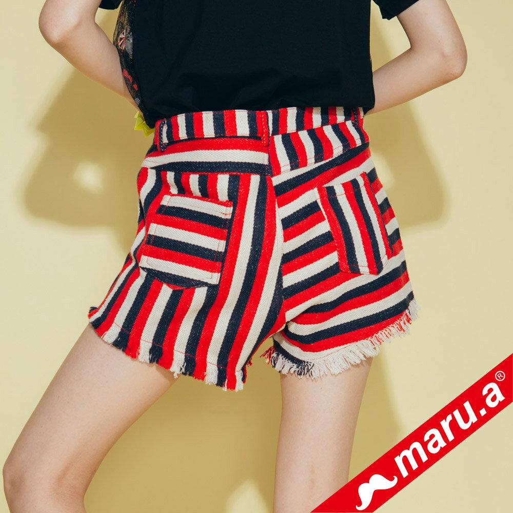 【maru.a】條紋拼接褲管抽鬚短褲 (兩色)8325111 4