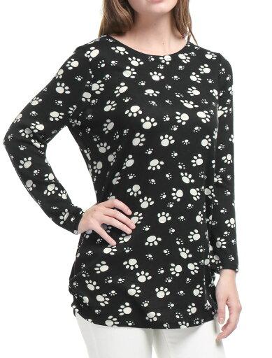 Unique Bargains Women Printed Tunic Knitted Top Black XS (US 2) 42a43faea6358393eb0db4813da2980d
