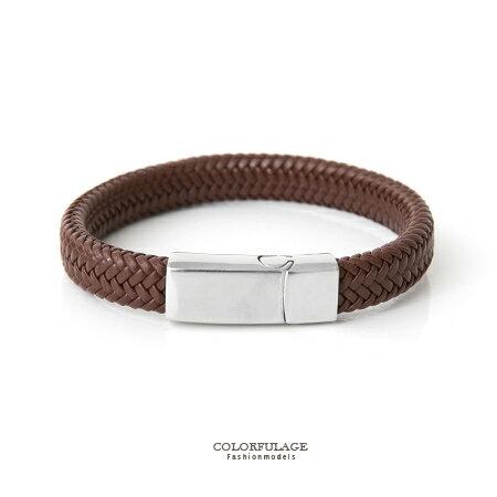 手環 素面厚實寬版皮革 手鍊 品味深咖啡色 白鋼磁釦側開口 柒彩年代~NA362~俐落帥氣
