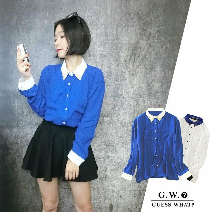 GW【買一送一,鉚釘長袖襯衫】復古  對比色 雪紡 上衣  藍白  優惠中 F號 售完不補 GUESSWHAT