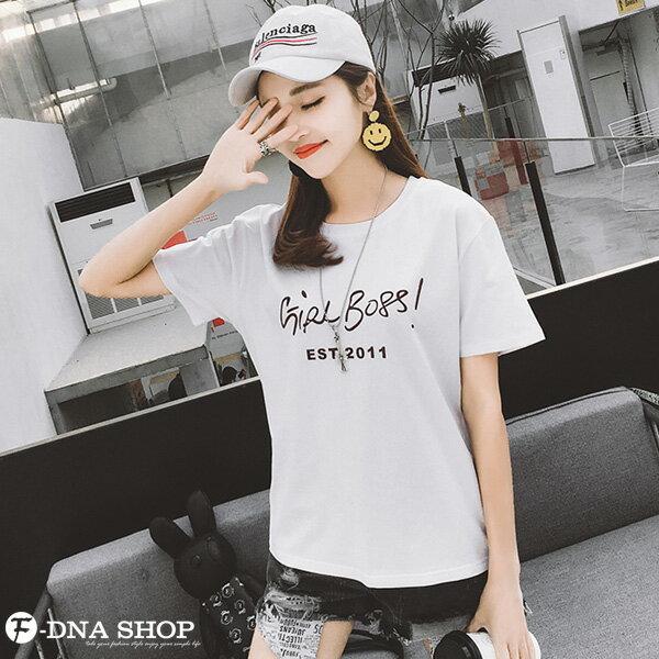 F-DNA★GIRLBOSS草寫英文圓領短袖上衣T恤(2色-M-2XL)【ET12713】 2