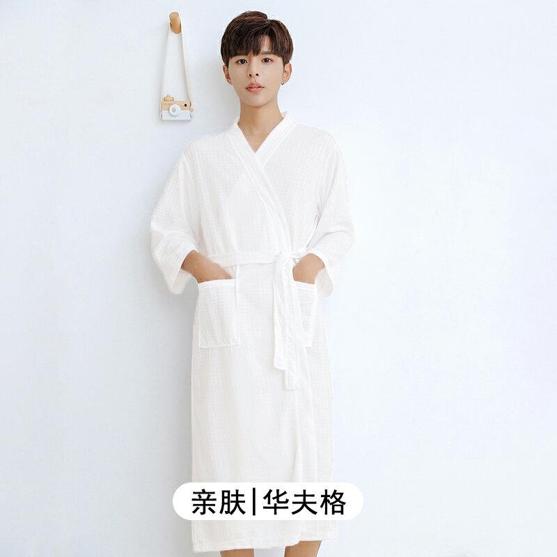 日式和服(男)薄款浴袍女長款酒店美容院睡袍男大碼華夫格情侶日式和服冰絲睡衣 bw3014