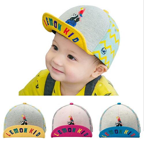 WallFree窩自在★時尚百搭動物樂園刺繡彩色字母翻帽沿軟沿兒童帽