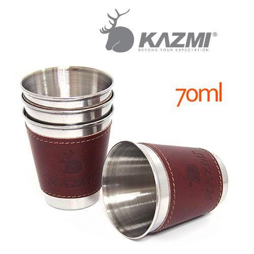 【露營趣】中和 KAZMI K3T3K003 仿皮革不鏽鋼杯4入組 70ml 環保杯 收納杯 方便杯 啤酒杯