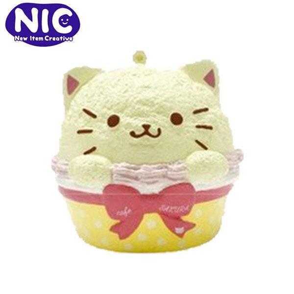 白貓款【日本正版】cafeSAKURA杯子蛋糕捏捏吊飾捏捏樂軟軟Squishy-625557